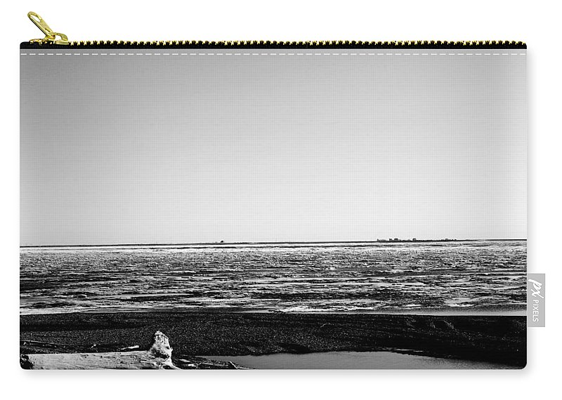 Landscape Carry-all Pouch featuring the photograph Driftwood On Arctic Beach Balck And White by Anthony Jones