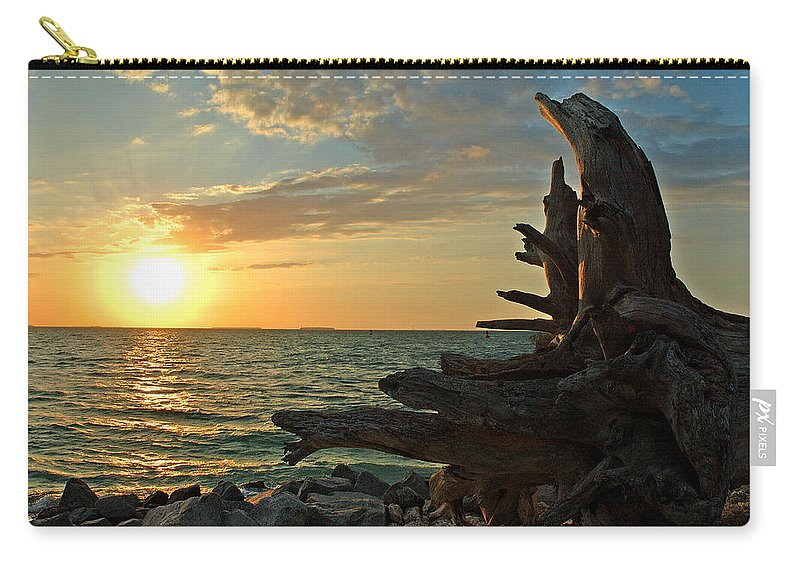 Sunset Carry-all Pouch featuring the photograph Driftwood Sunset by Susanne Van Hulst