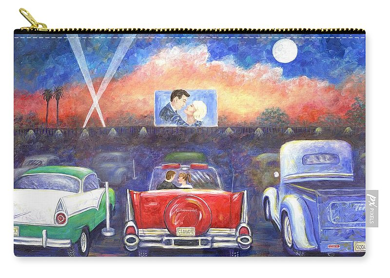 Cars Carry-all Pouch featuring the painting Drive-in Movie Theater by Linda Mears