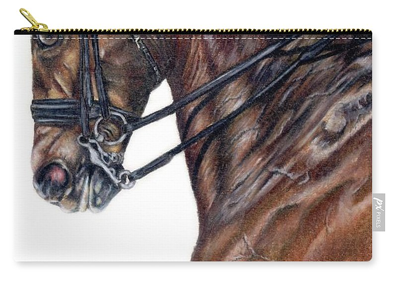 Horse Carry-all Pouch featuring the drawing Driven by Kristen Wesch