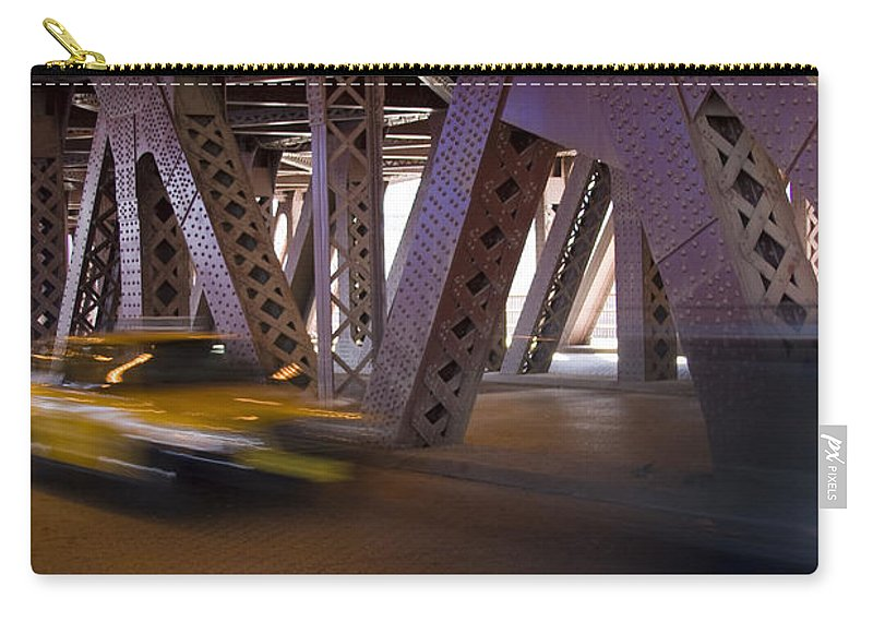 Chicago Windy City Bridge Steel Metal Taxi Street Road Fast Metro Urban Carry-all Pouch featuring the photograph Driving Fast by Andrei Shliakhau