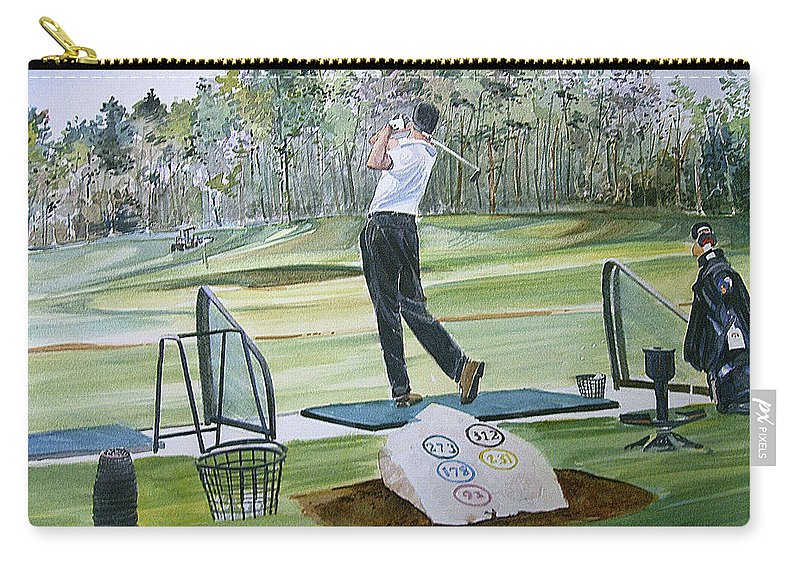 Golfing Carry-all Pouch featuring the painting Driving Pine Hills by P Anthony Visco