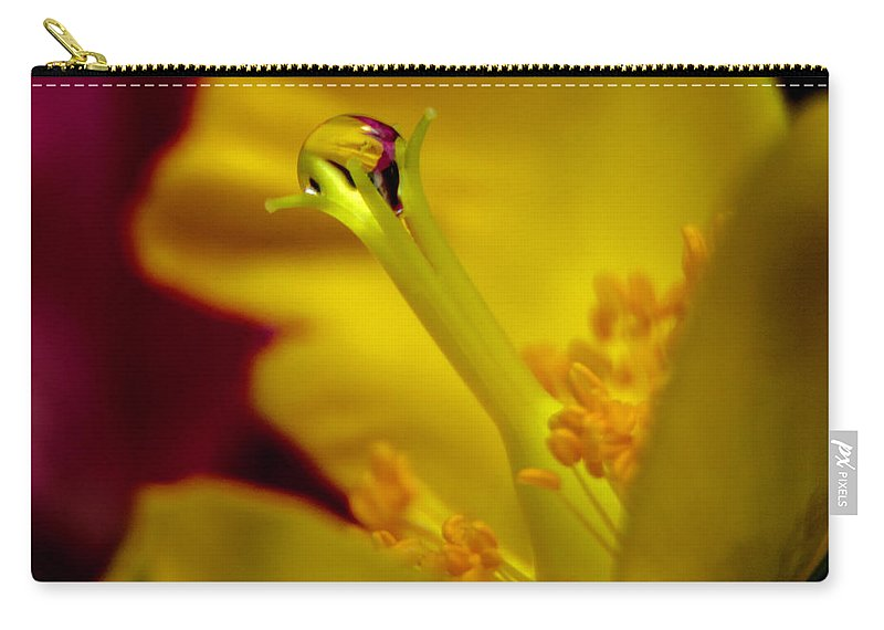 Flower Carry-all Pouch featuring the photograph Drop On Flower Stalk by Wolfgang Stocker