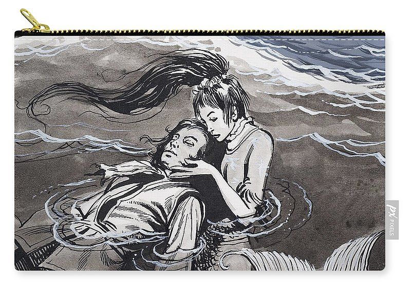 Mermaid Carry-all Pouch featuring the painting Drowned Man Being Assisted By A Mermaid by English School