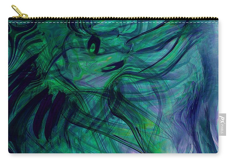 Digital Abstarct Art Carry-all Pouch featuring the digital art Drowning by Linda Sannuti