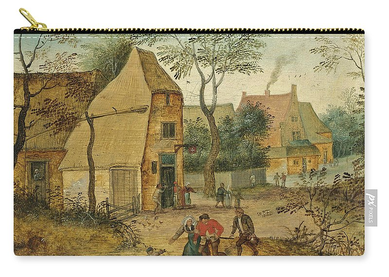 Pieter Brueghel The Younger Carry-all Pouch featuring the painting Drunkard Being Taken Home From The Tavern By His Wife by Pieter Brueghel the Younger