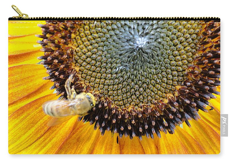 Sunfllower Carry-all Pouch featuring the photograph Drunken Bee by Trish Hale