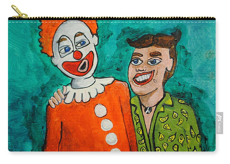 Best Friends Carry-all Pouch featuring the painting Drunken Pals by Patricia Arroyo
