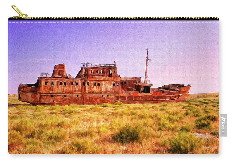 Rusty Hulk Carry-all Pouch featuring the painting Dry Dock by Dominic Piperata