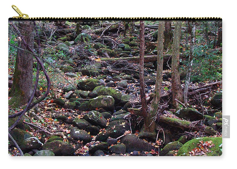River Carry-all Pouch featuring the photograph Dry River Bed- Autumn by Nancy Mueller