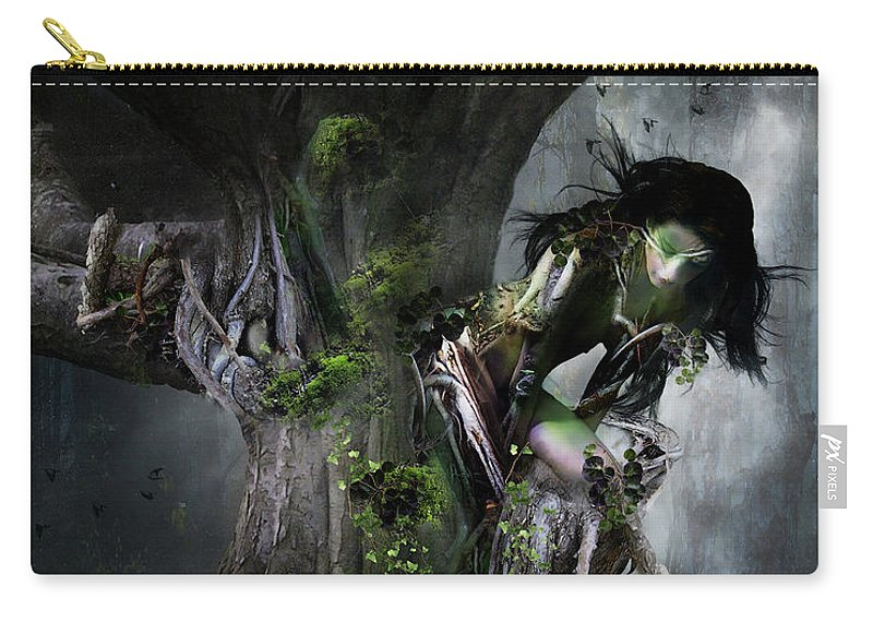 Tree Carry-all Pouch featuring the digital art Dryad's Dance by Karen Koski
