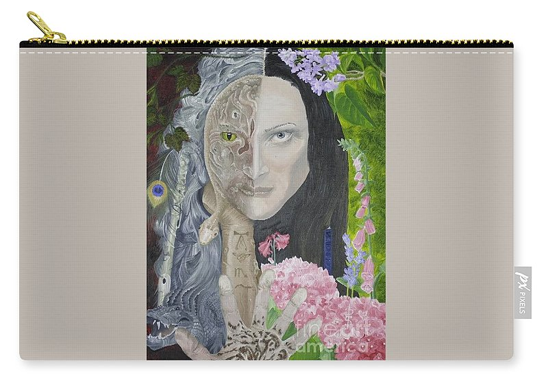 Portrait Dual Personality Flowers Hand Flute Crocodile Snake Boils Carry-all Pouch featuring the painting Duality of nature by Pauline Sharp
