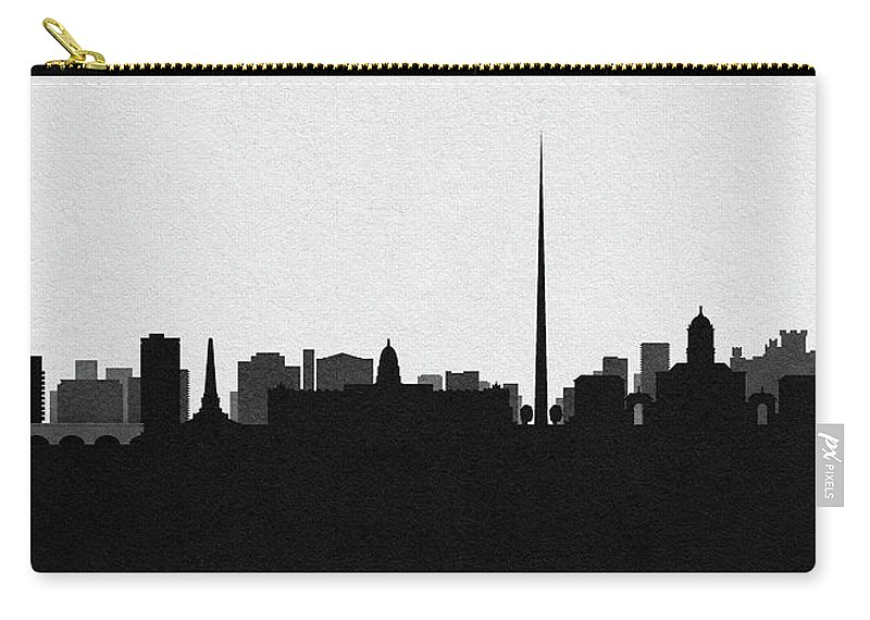 Dublin Carry-all Pouch featuring the digital art Dublin Cityscape Art by Inspirowl Design
