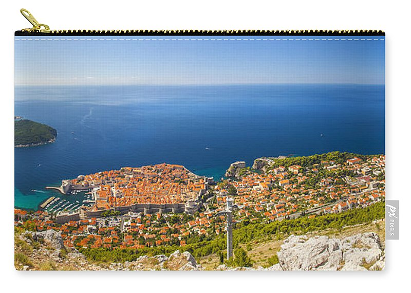 Panorama Carry-all Pouch featuring the photograph Dubrovnik From Above Panorama by Sandra Rugina