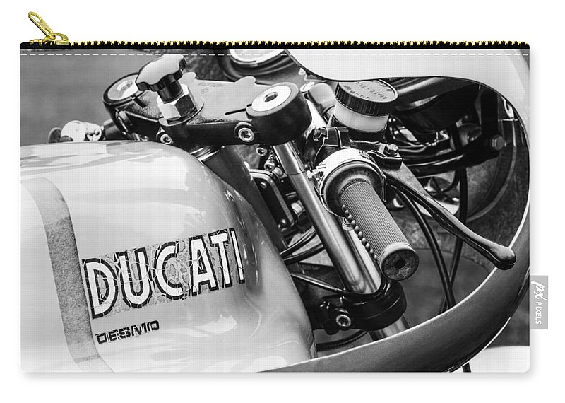 Ducati Desmo Motorcycle Carry-all Pouch featuring the photograph Ducati Desmo Motorcycle -2127bw by Jill Reger