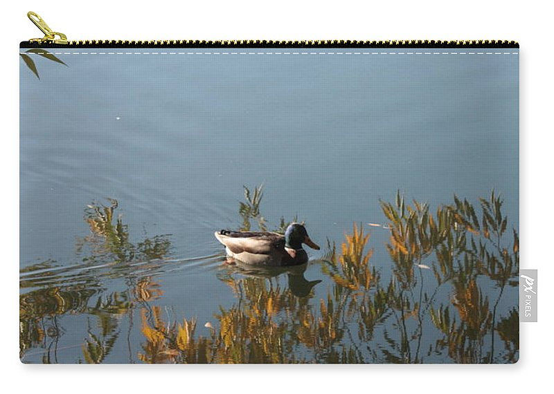 Autumn Carry-all Pouch featuring the photograph Duck On Golden Pond by Carol Groenen