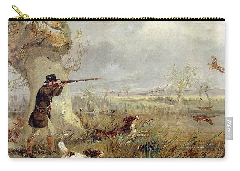 Duck Carry-all Pouch featuring the painting Duck Shooting by Henry Thomas Alken