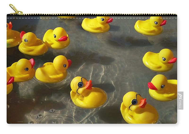 Duckies Carry-all Pouch featuring the photograph Duckies by Skip Hunt