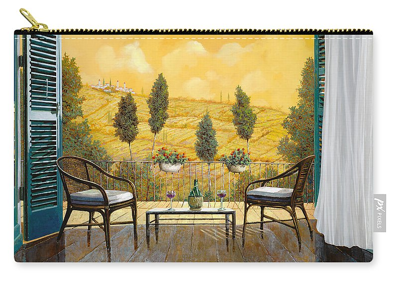 Terrace Carry-all Pouch featuring the painting due bicchieri di Chianti by Guido Borelli