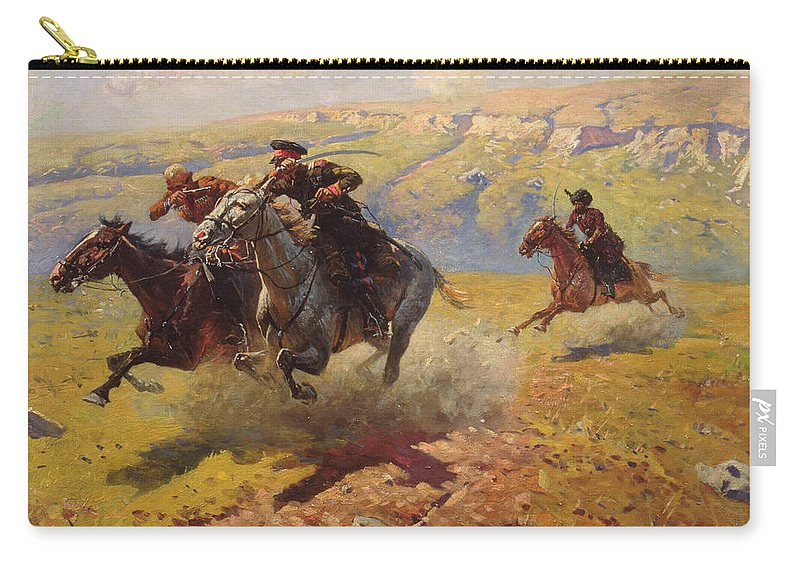 War Carry-all Pouch featuring the painting Duel by Franz Roubaud