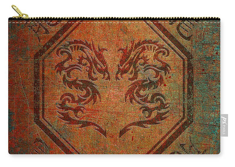 Chinese Carry-all Pouch featuring the digital art Dueling Dragons In An Octagon Frame With Chinese Dragon Characters Yellow Tint Distressed by Fred Bertheas