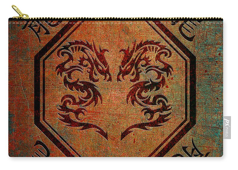Chinese Carry-all Pouch featuring the digital art Dueling Dragons In An Octagon Frame With Chinese Dragon Characters Yellow Tint by Fred Bertheas