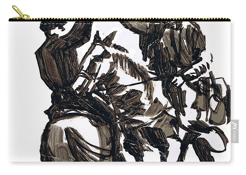 Civil War Carry-all Pouch featuring the drawing Dueling Sabres by Seth Weaver
