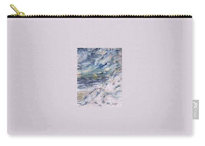 Seascape Carry-all Pouch featuring the painting Dunes 2 Seascape Painting Poster Print by Derek Mccrea
