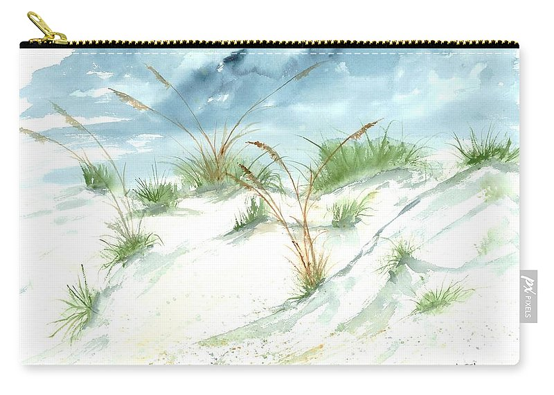 Beach Carry-all Pouch featuring the painting Dunes 3 Seascape Beach Painting Print by Derek Mccrea