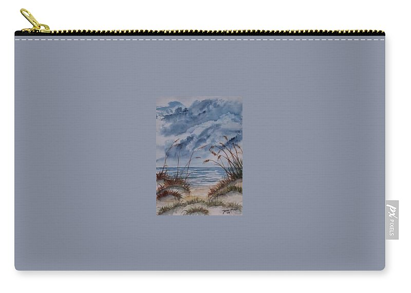 Watercolor Landscape Painting Seascape Beach Carry-all Pouch featuring the painting DUNES seascape fine art poster print seascape by Derek Mccrea