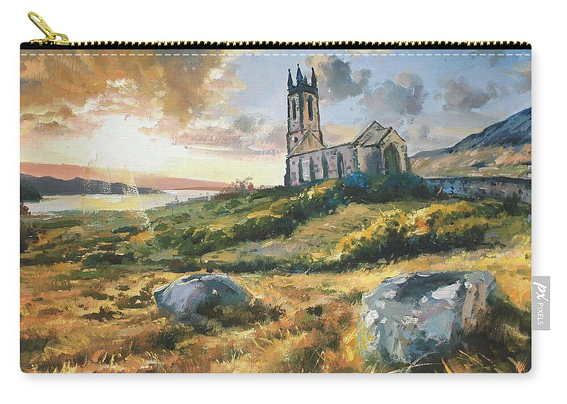Sun Light Carry-all Pouch featuring the painting Dunlewy Church by Conor McGuire