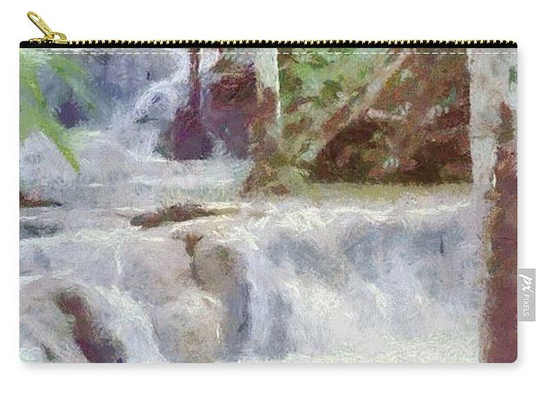 Dunn River Carry-all Pouch featuring the painting Dunn River Falls by Jeffrey Kolker