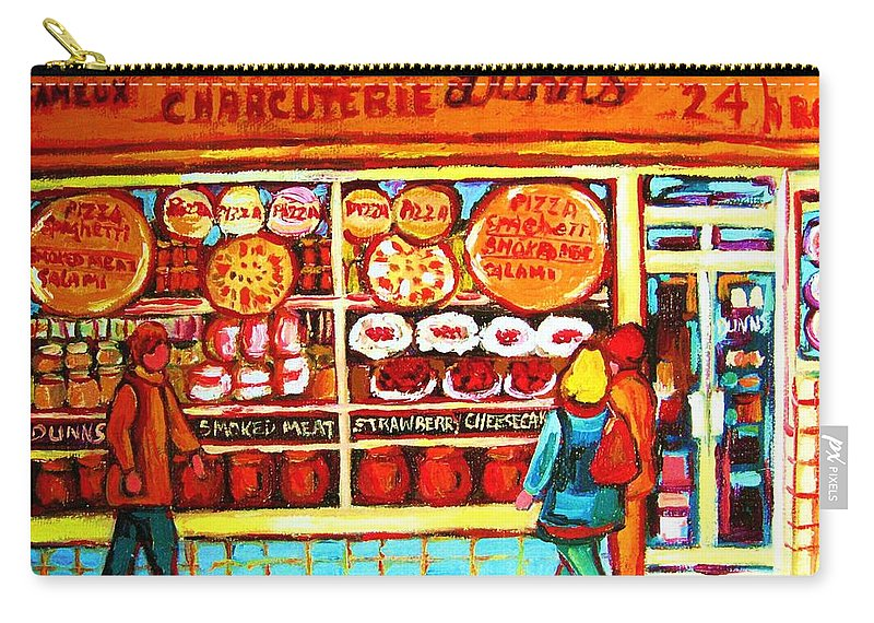 Montreal Carry-all Pouch featuring the painting Dunn's Treats And Sweets by Carole Spandau