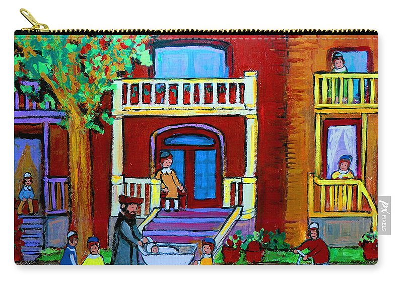 Judaica Carry-all Pouch featuring the painting Durocher Street Montreal by Carole Spandau