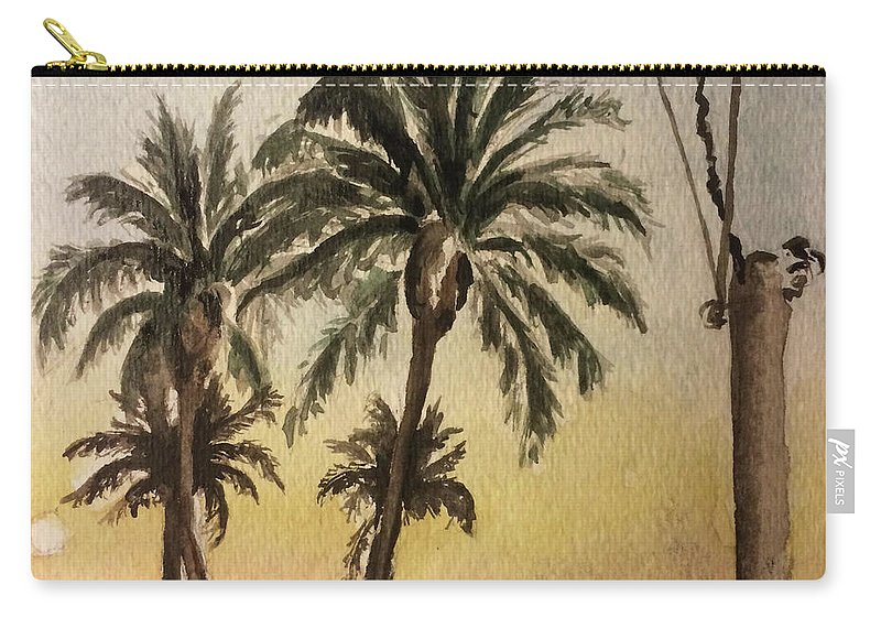 Landscape Carry-all Pouch featuring the painting Dusk by Andrea Garcia