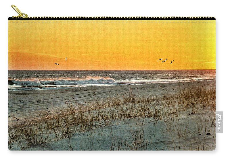 Shore Carry-all Pouch featuring the photograph Dusk At The Shore by Cathy Kovarik