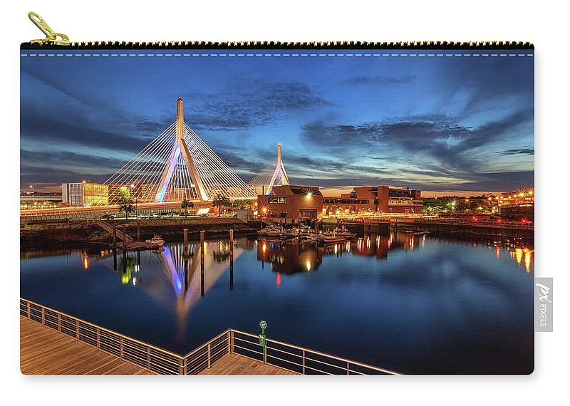 Boston Carry-all Pouch featuring the photograph Dusk At The Zakim Bridge by Kristen Wilkinson