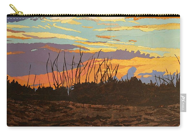 Sunset Carry-all Pouch featuring the painting Dusk Fishing, Hutchinson Island by Leah Tomaino