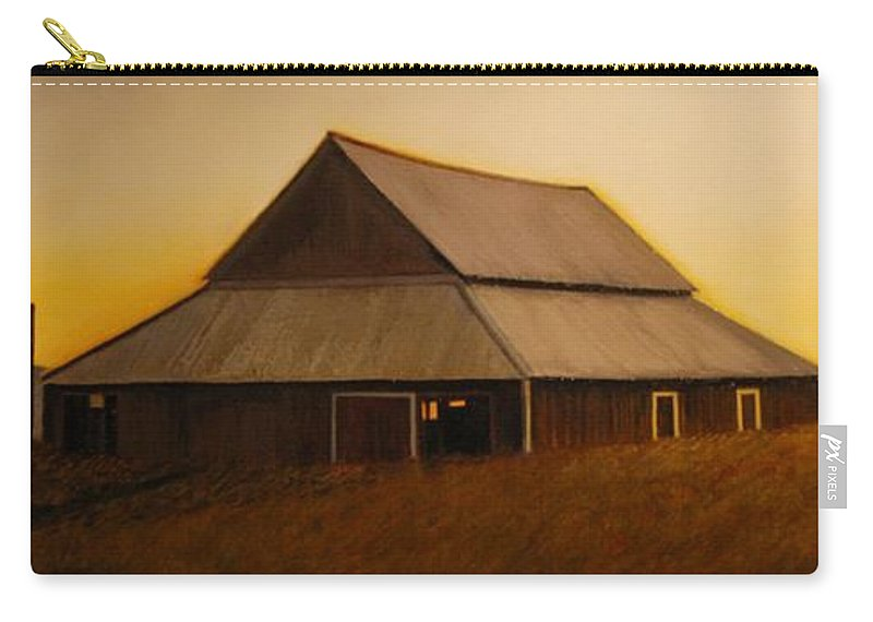 Sunrise Carry-all Pouch featuring the painting Dusk near Union by Leonard Heid