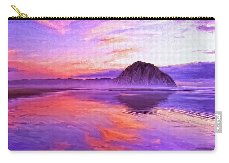 Dusk On The Morro Strand Carry-all Pouch featuring the painting Dusk On The Morro Strand by Dominic Piperata