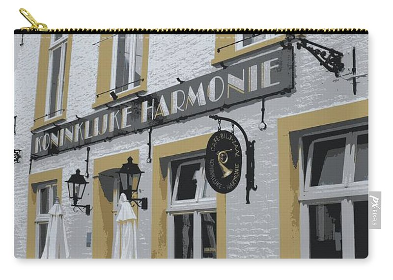Gray And Yellow Carry-all Pouch featuring the photograph Dutch Cafe - Digital by Carol Groenen