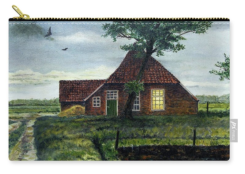 Farm Carry-all Pouch featuring the painting Dutch Farm At Dusk by Arie Van der Wijst