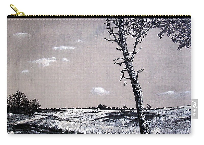 Duotone Carry-all Pouch featuring the painting Dutch Heathland by Arie Van der Wijst
