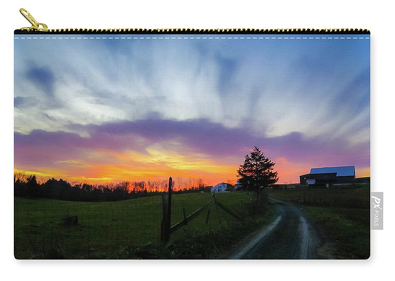 Beautiful Sky Carry-all Pouch featuring the photograph Dutch Lane In Evening Sky by Amy Bishop