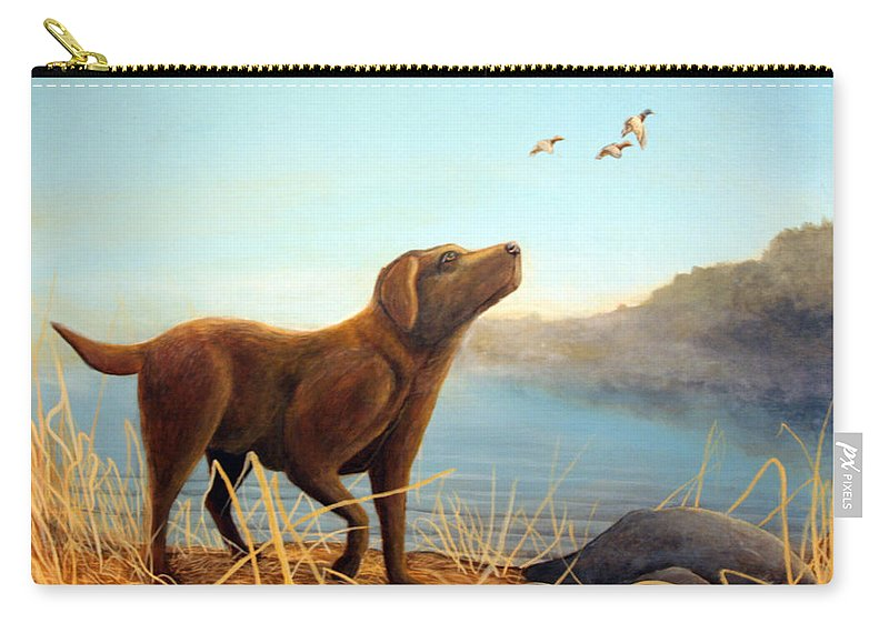 Chocolate Lab Painting Carry-all Pouch featuring the Dutch by Rick Huotari