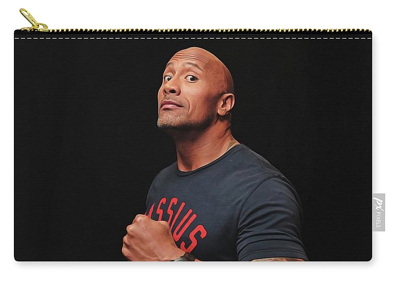 Dwayne Johnson Carry-all Pouch featuring the painting Dwayne Johnson by Twinkle Mehta
