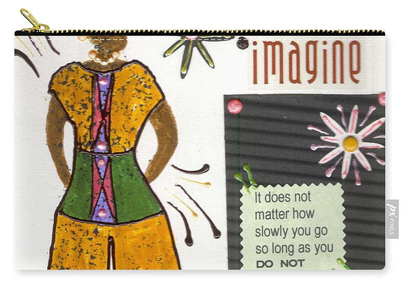 Gretting Cards Carry-all Pouch featuring the mixed media Dwell In Possibility by Angela L Walker