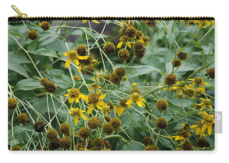 Macro Carry-all Pouch featuring the photograph Dying Sun Flowers by Rob Hans