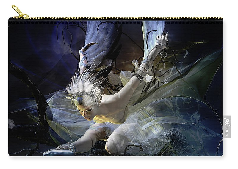 Wood Carry-all Pouch featuring the digital art Dying Swan by Karen Koski
