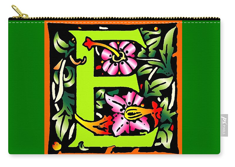Alphabet Carry-all Pouch featuring the digital art E In Green by Kathleen Sepulveda